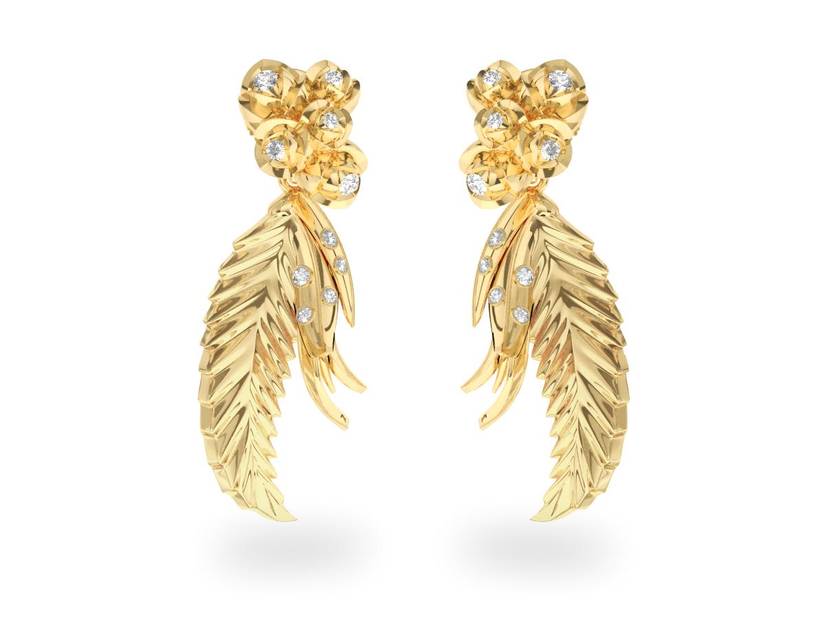 Boucles d'oreilles Paradise Leaf - Or jaune 18 carats - Diamants blancs