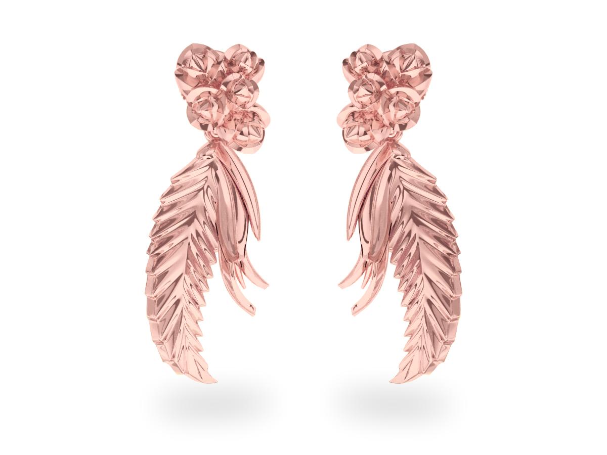 Boucles d'oreilles Paradise Leaf - Or rose 18 carats