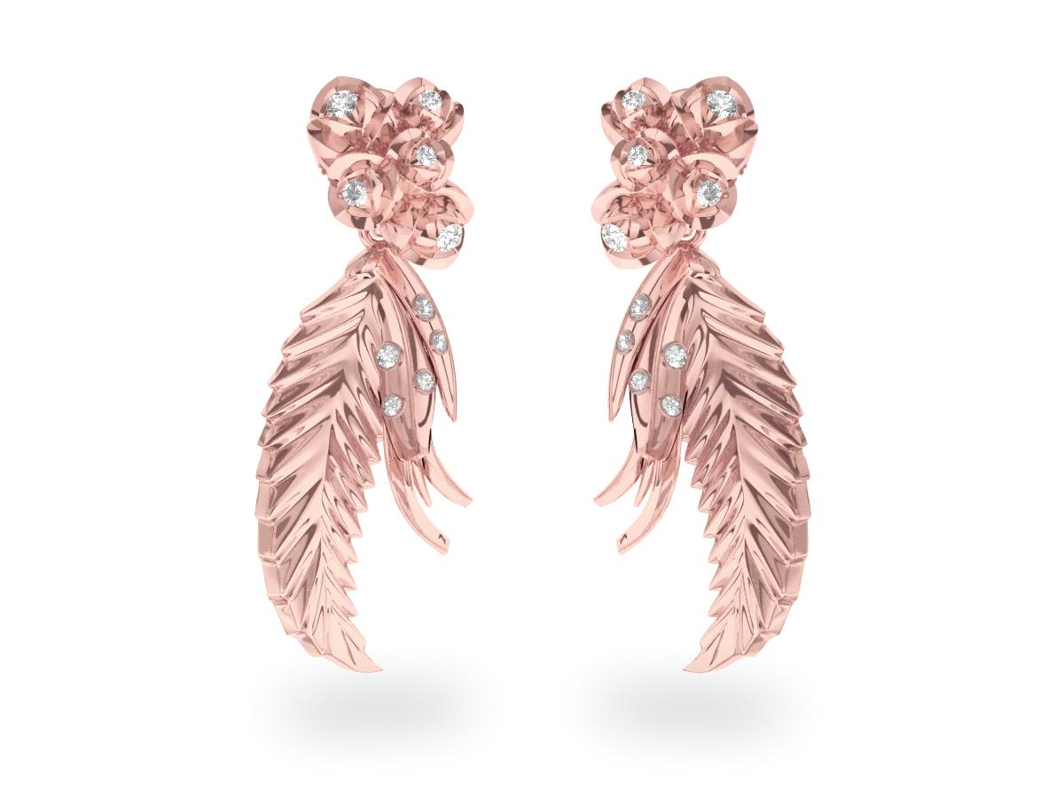 Boucles d'oreilles Paradise Leaf - Or rose 18 carats - Diamants blancs