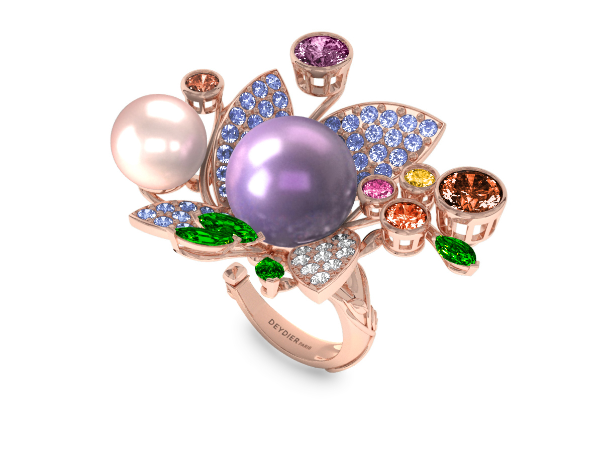 Bague Pearly Angel Lavande & Ivoire - Saphirs, diamants, tsavorites & perles d'eau douce <br /> Or rose 18 carats