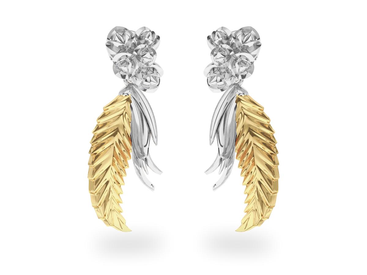 Boucles d'oreilles Paradise Leaf - Or blanc & jaune 18 carats