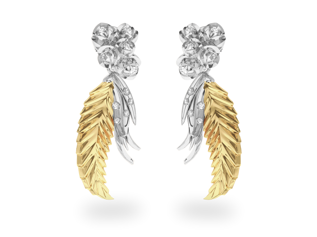 Boucles d'oreilles Paradise Leaf - Or blanc &  jaune 18 carats - Diamants blancs