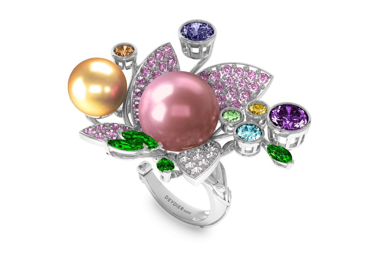 Bague Pearly Angel Rose & Or - Saphirs, diamants, tsavorites & perle d'eau douce et des mers du Sud <br /> Or blanc 18 carats