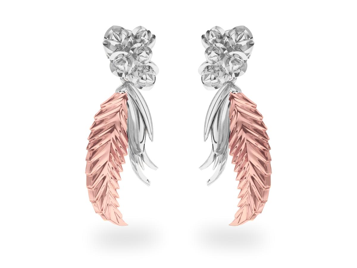 Boucles d'oreilles Paradise Leaf - Or blanc & rose 18 carats