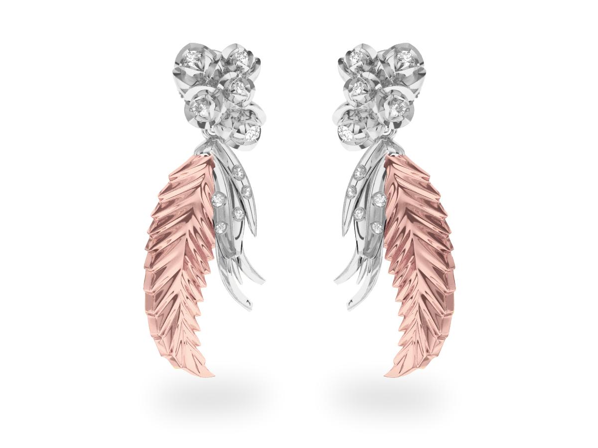 Boucles d'oreilles Paradise Leaf - Or blanc & rose 18 carats - Diamants blancs