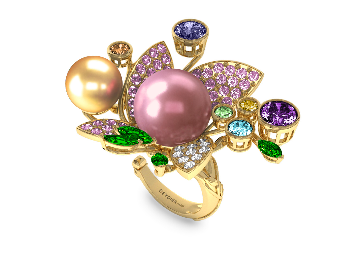 Bague Pearly Angel Rose & Or - Saphirs, diamants, tsavorites & perle d'eau douce et des mers du Sud <br /> Or jaune 18 carats