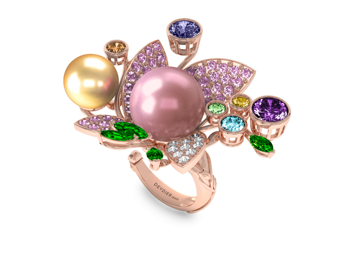Bague Pearly Angel Rose & Or - Saphirs, diamants, tsavorites & perle d'eau douce et des mers du Sud <br /> Or rose 18 carats
