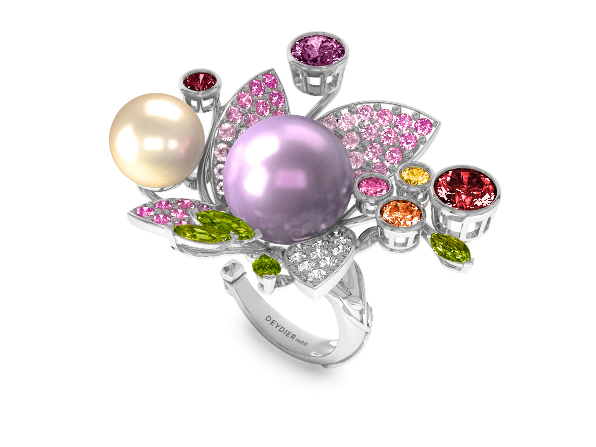 Bague Pearly Angel Mauve & Ivoire - Saphirs, diamants, péridots & perles d'eau douce <br /> Or blanc 18 carats