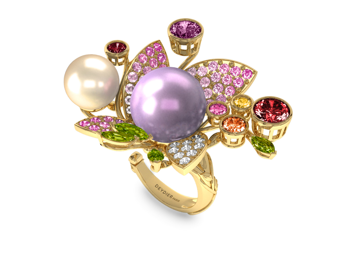 Bague Pearly Angel Mauve & Ivoire - Saphirs, diamants, péridots & perles d'eau douce <br /> Or jaune 18 carats