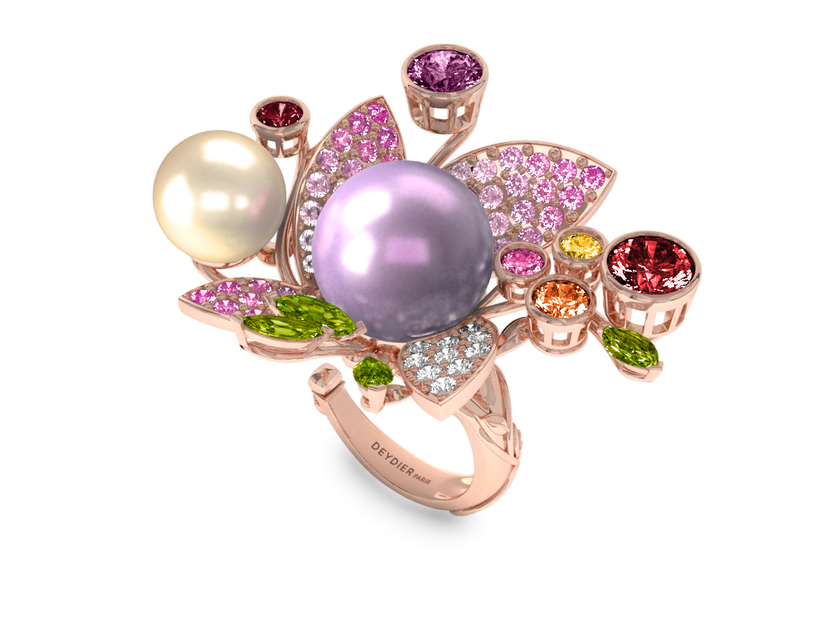 Bague Pearly Angel Mauve & Ivoire - Saphirs, diamants, peridots & perles de Tahiti <br /> Or blanc 18 carats