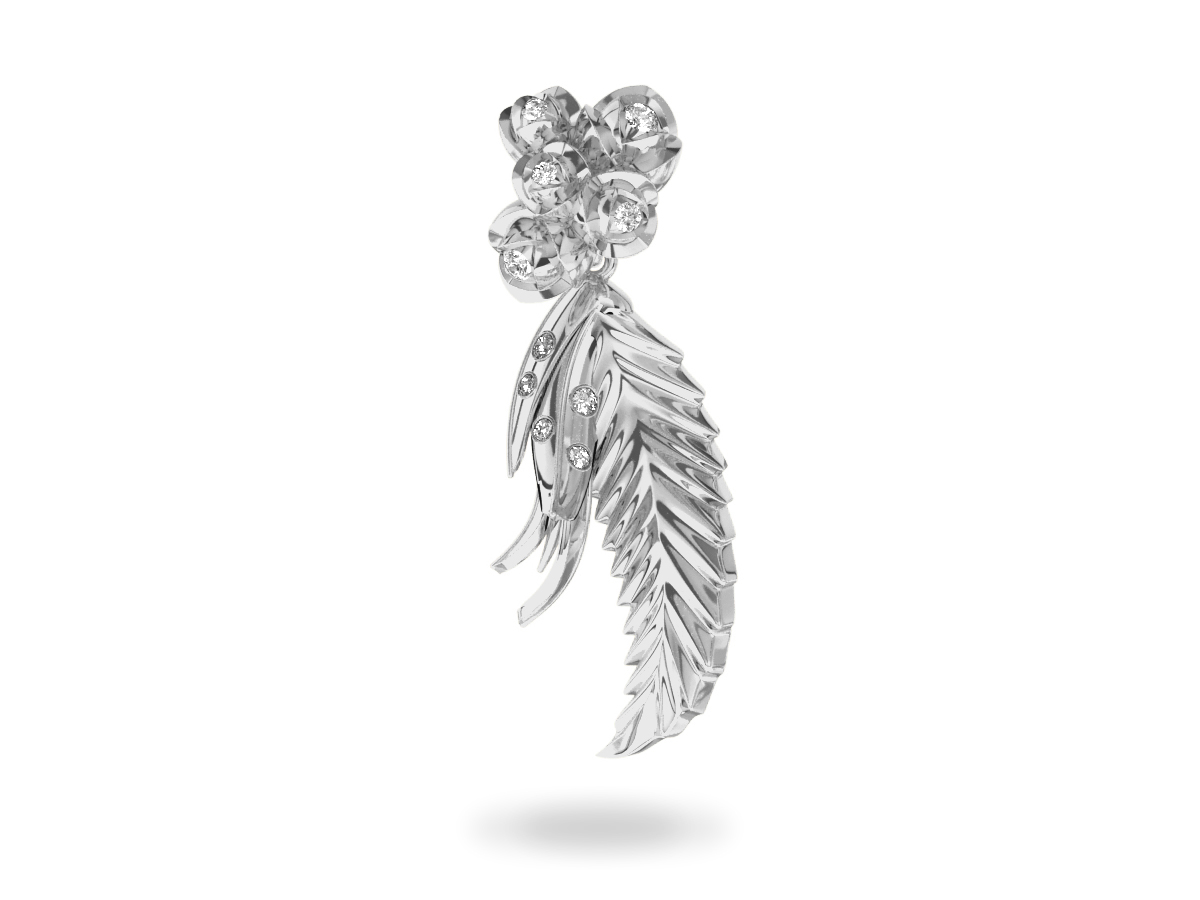 Pendentif Paradise Leaf - Or blanc 18 carats - Diamants blancs
