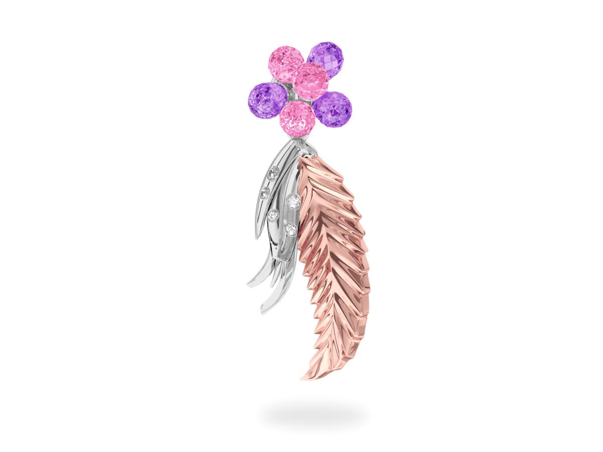 Pendentif Flowers Pink & Purple -