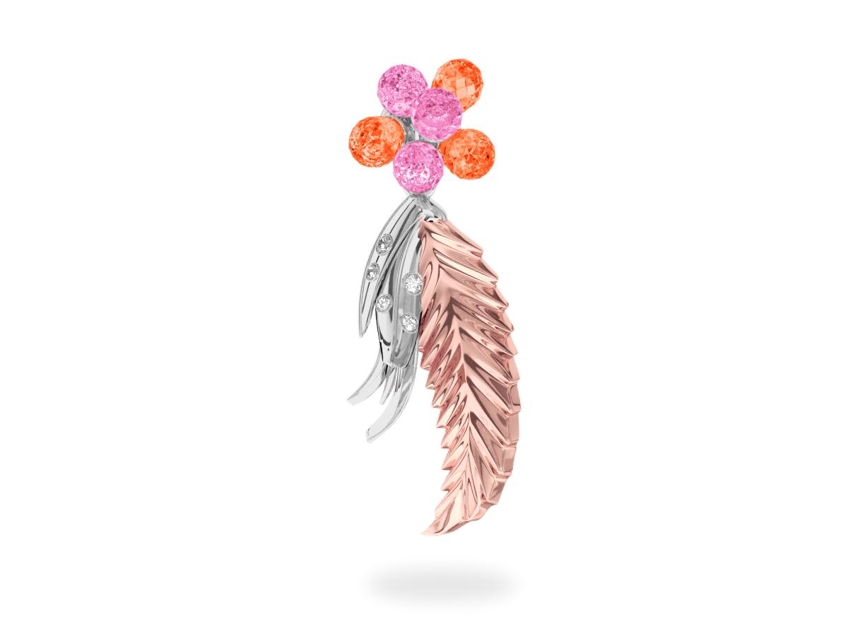 Pendentif Flowers Pink & Padaradsha -