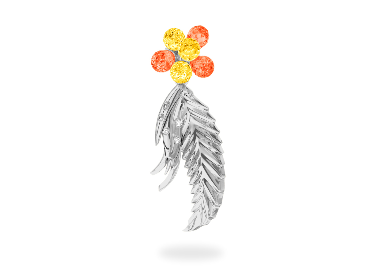 Pendentif Flowers Yellow & Orange  -