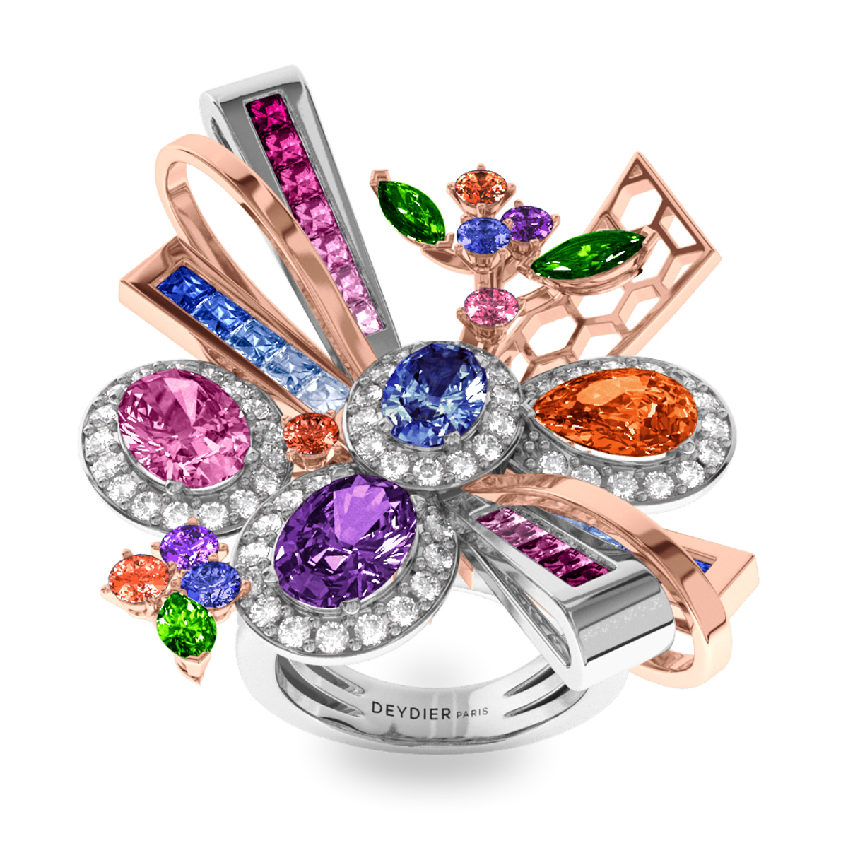 Bague Destiny - Diamants blancs, saphirs & tsavorites <br> Or blanc et rose 18 carats