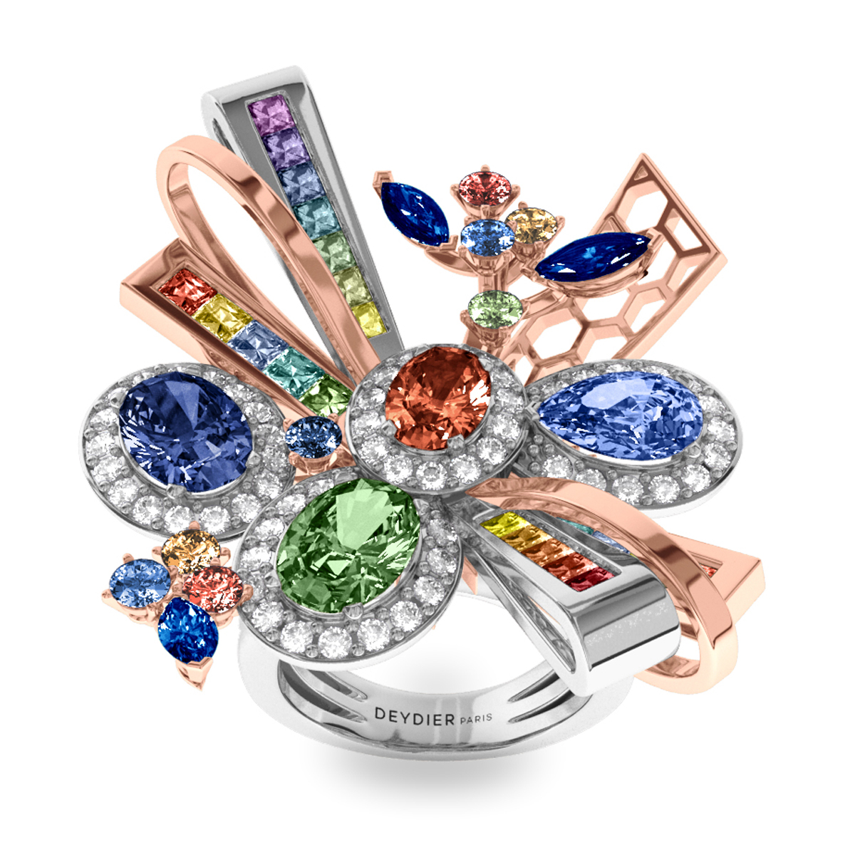 Bague Rainbow - Diamants blancs & saphirs <br> Or blanc et rose 18 carats