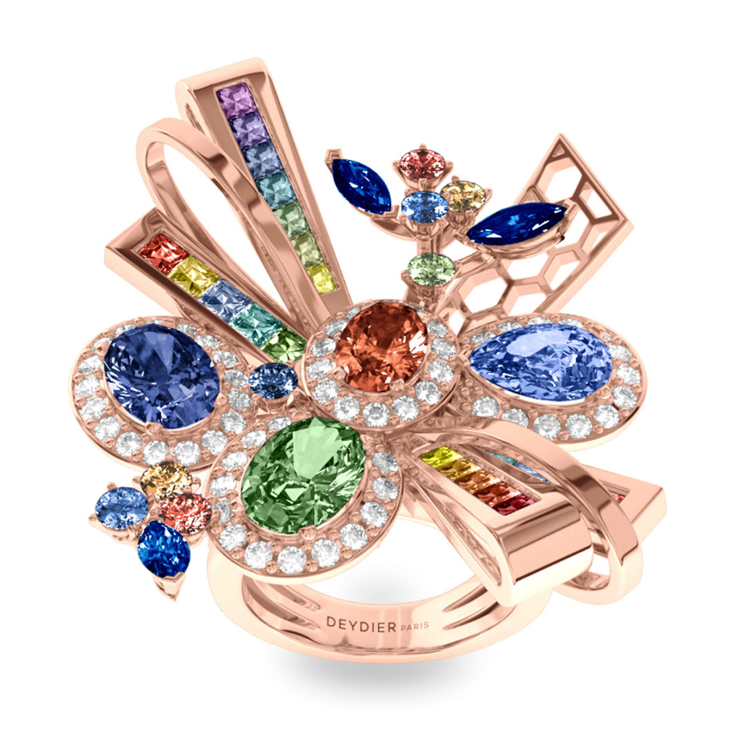Bague Rainbow - Diamants blancs & saphirs – Or rose 18 carats