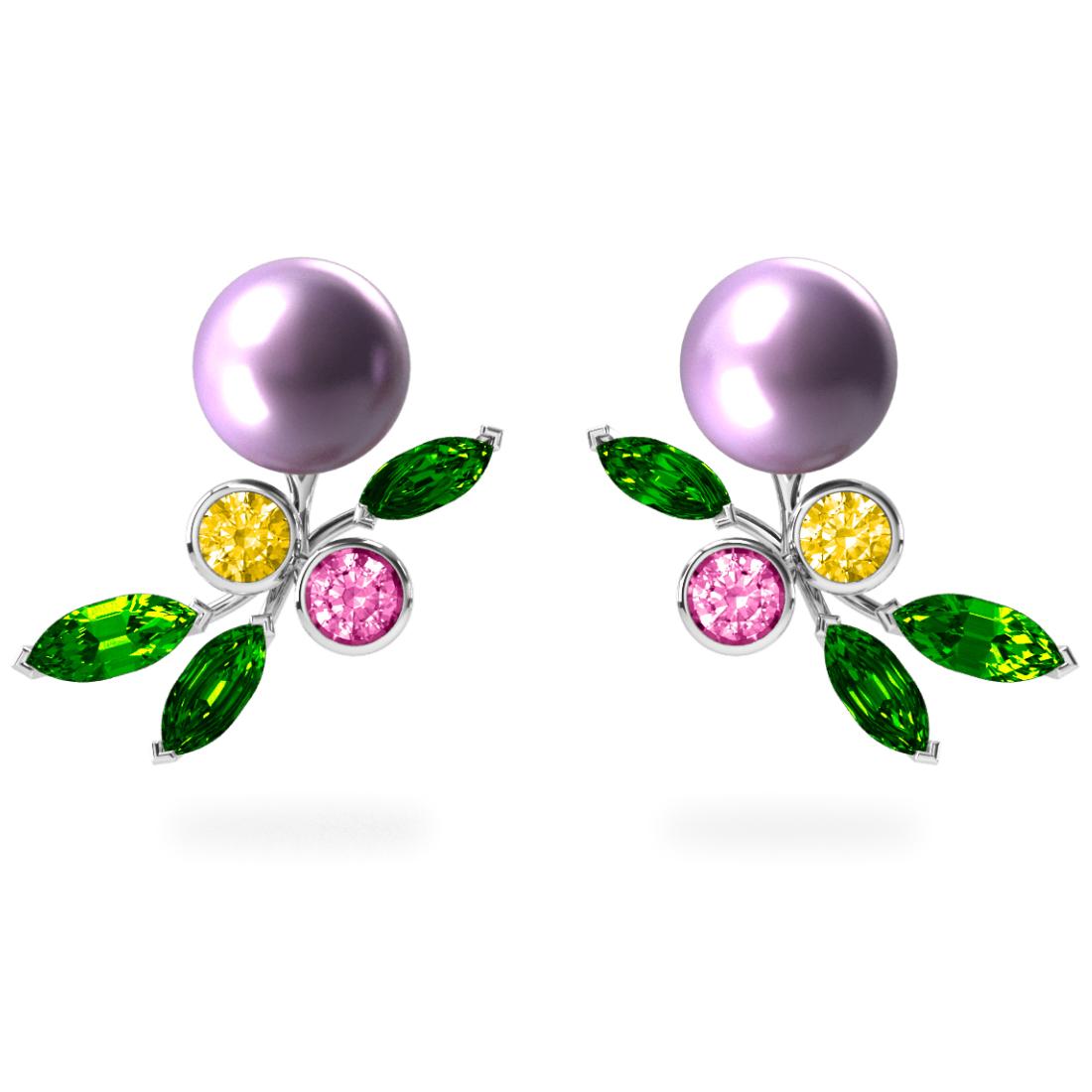 Boucles d'oreilles My Angel Lavande - Saphirs, diamants, tsavorites & perles d'eau douce <br /> Or blanc 18 carats