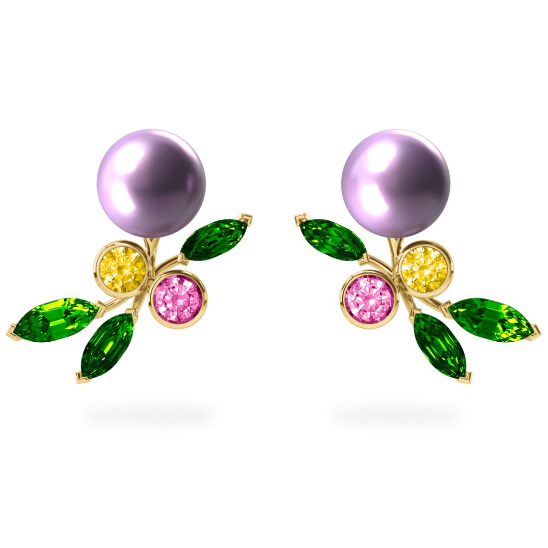 Boucles d'oreilles My Angel Lavande - Saphirs, diamants, tsavorites & perles d'eau douce <br /> Or jaune 18 carats
