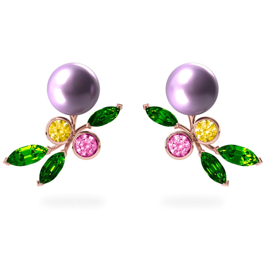 Boucles d'oreilles My Angel Lavande - Saphirs, diamants, tsavorites & perles d'eau douce <br /> Or rose 18 carats