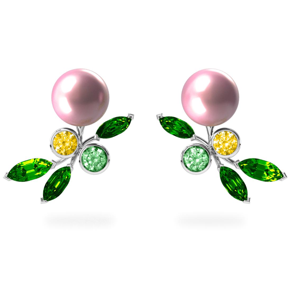 Boucles d'oreilles My Angel Rose - Saphirs, diamants, tsavorites & perles d'eau douce <br /> Or blanc 18 carats