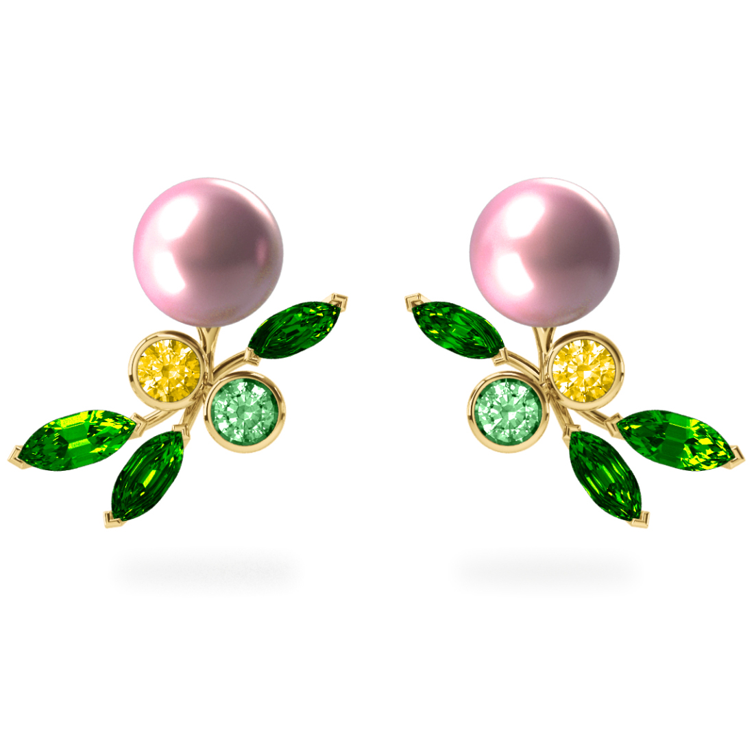 Boucles d'oreilles My Angel Rose - Saphirs, diamants, tsavorites & perles d'eau douce<br /> Or jaune 18 carats