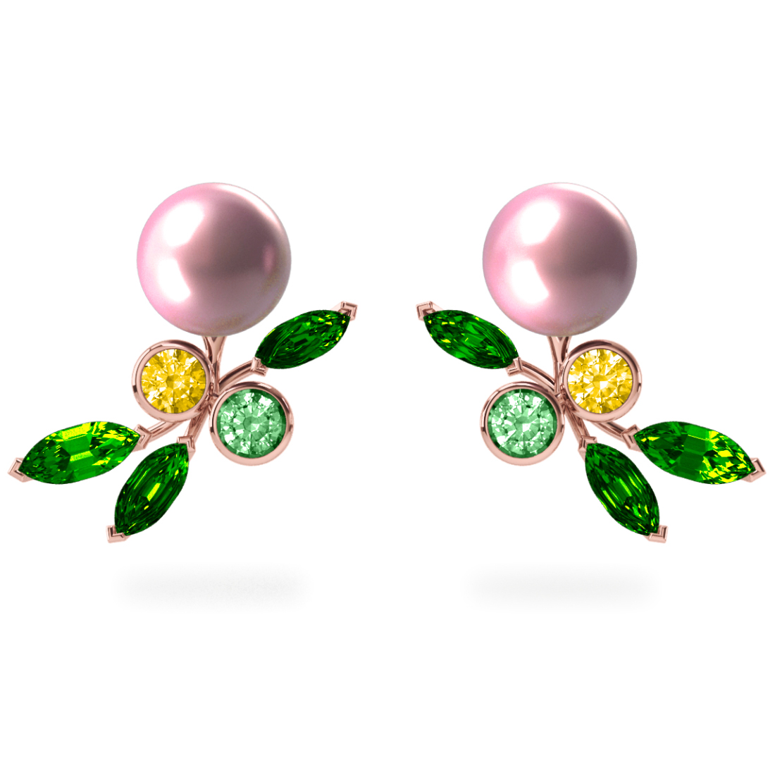 Boucles d'oreilles My Angel Rose - Saphirs, diamants, tsavorites & perles d'eau douce<br /> Or rose 18 carats