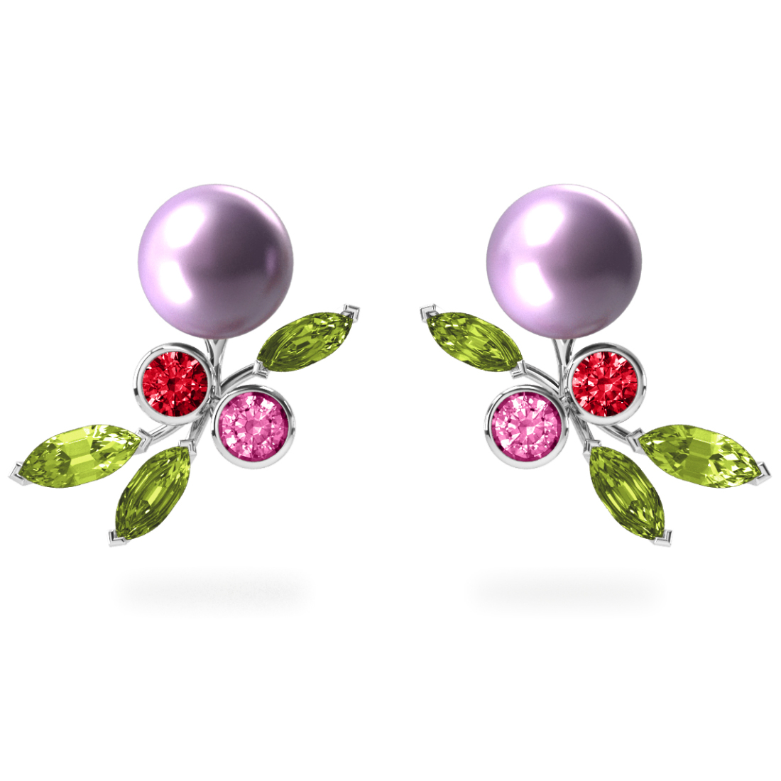 Boucles d'oreilles My Angel Mauve - Saphirs, diamants, péridots & perles d'eau douce <br /> Or blanc 18 carats