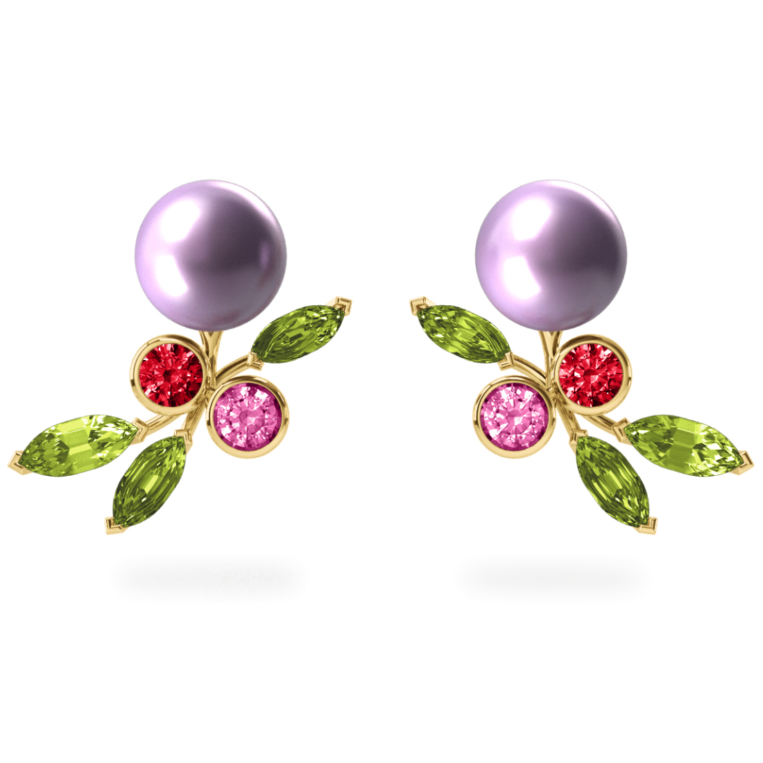 Boucles d'oreilles My Angel Mauve - Saphirs, diamants, péridots & perles d'eau douce <br /> Or jaune 18 carats