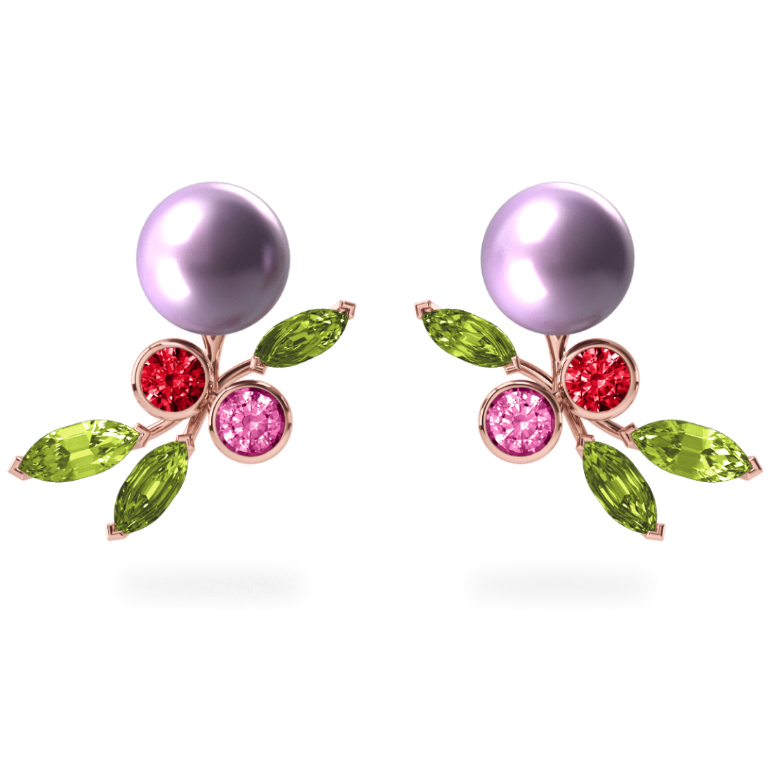 Boucles d'oreilles My Angel Mauve - Saphirs, diamants, peridots & perles d'eau douce <br /> Or blanc 18 carats