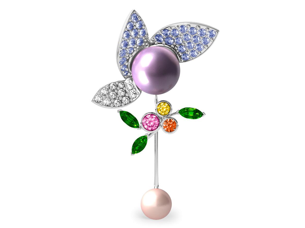 Pendentif  Pearly Angel Lavande & Ivoire - Saphirs, diamants, tsavorites & perles d'eau douce <br /> Or blanc 18 carats