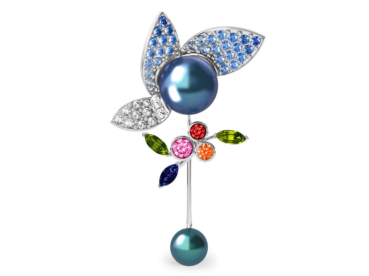 Pendentif  Pearly Angel Peacock & Céleste - Saphirs, diamants, peridots & perles de Tahiti <br /> Or blanc 18 carats