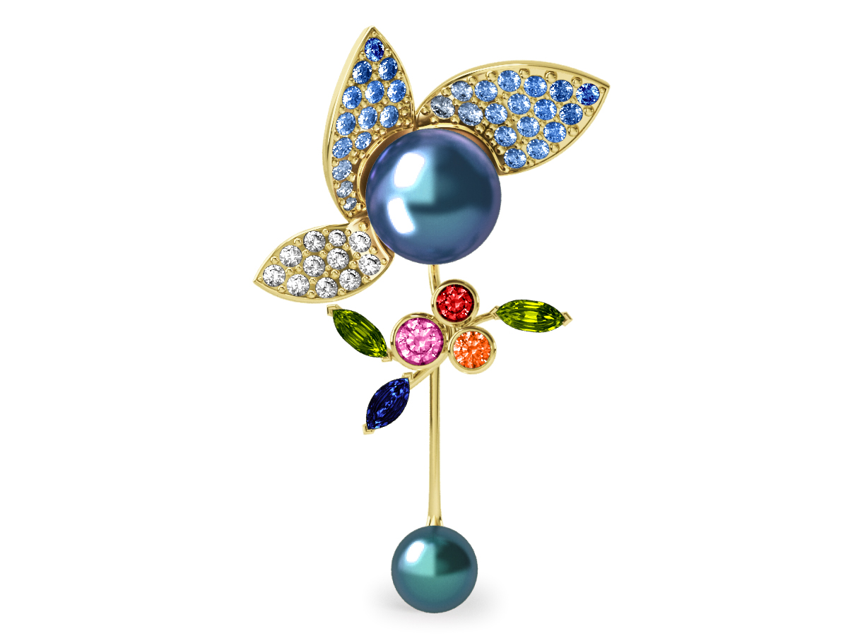 Pendentif  Pearly Angel Peacock & Céleste - Saphirs, diamants, peridots & perles de Tahiti <br /> Or jaune 18 carats