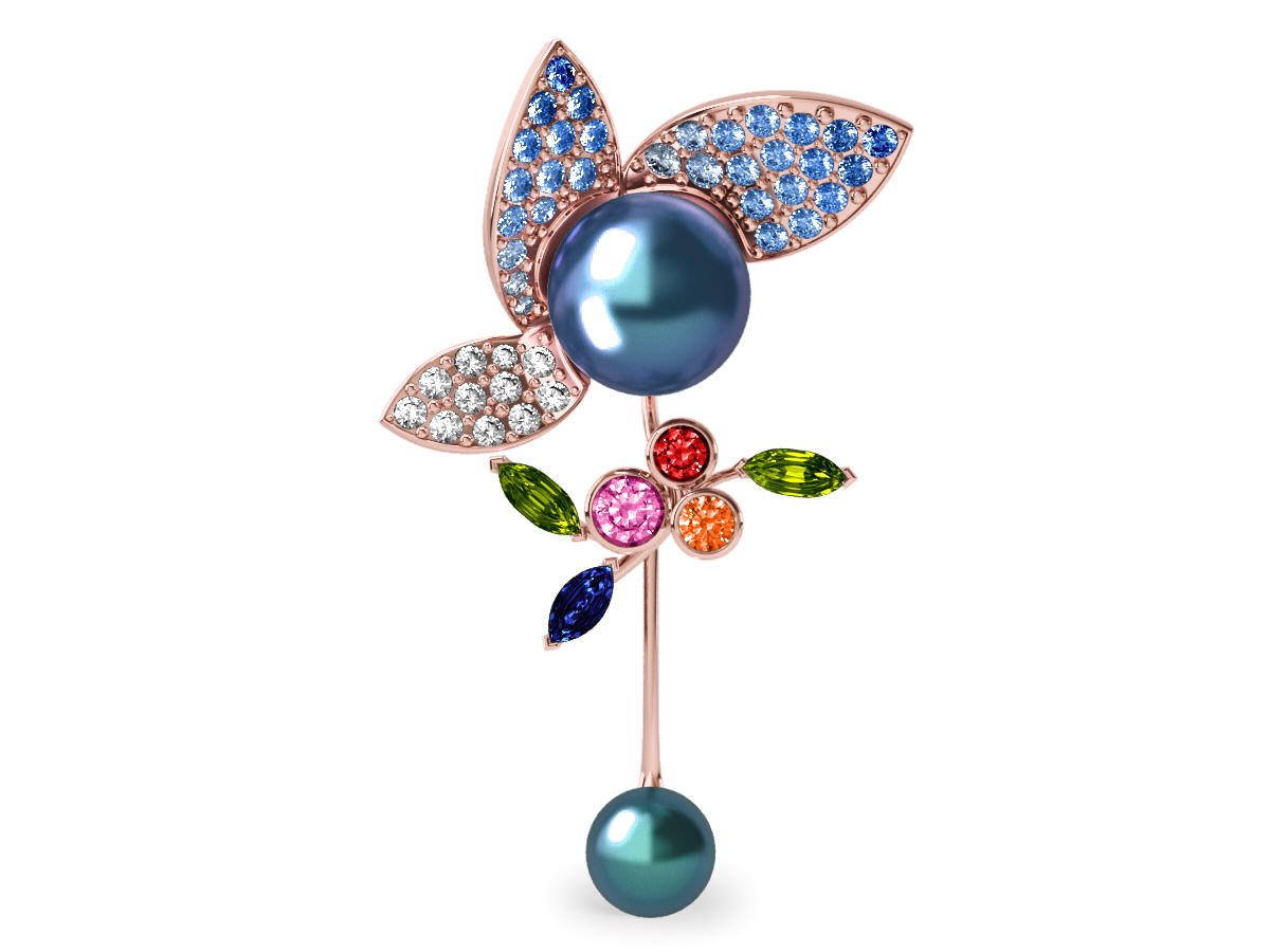Pendentif  Pearly Angel Peacock & Céleste - Saphirs, diamants, peridots & perles de Tahiti <br /> Or rose 18 carats