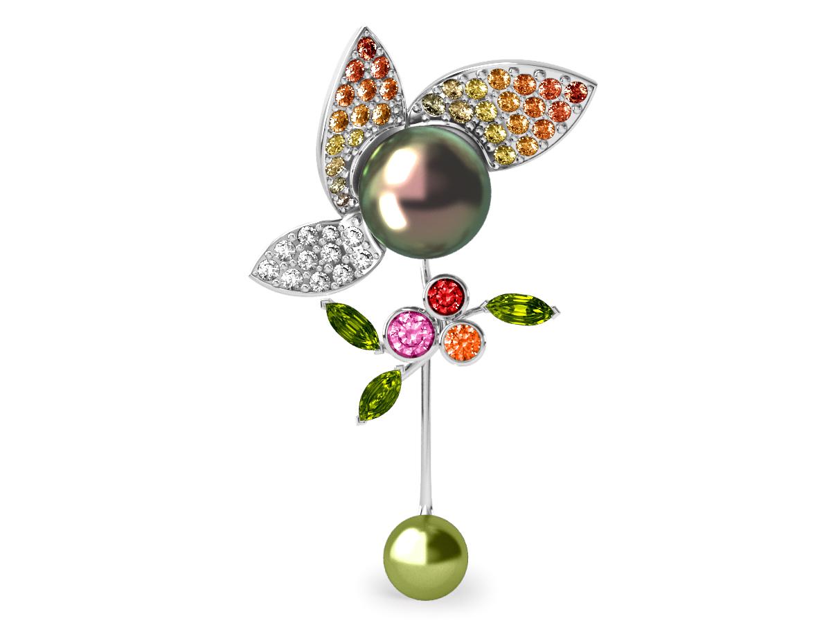 Pendentif  Pearly Angel Peacock & Pistache - Saphirs, diamants, peridots & perles de Tahiti <br /> Or blanc 18 carats