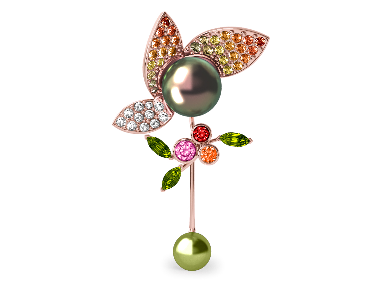 Pendentif  Pearly Angel Peacock & Pistache - Saphirs, diamants, peridots & perles de Tahiti <br /> Or rose 18 carats