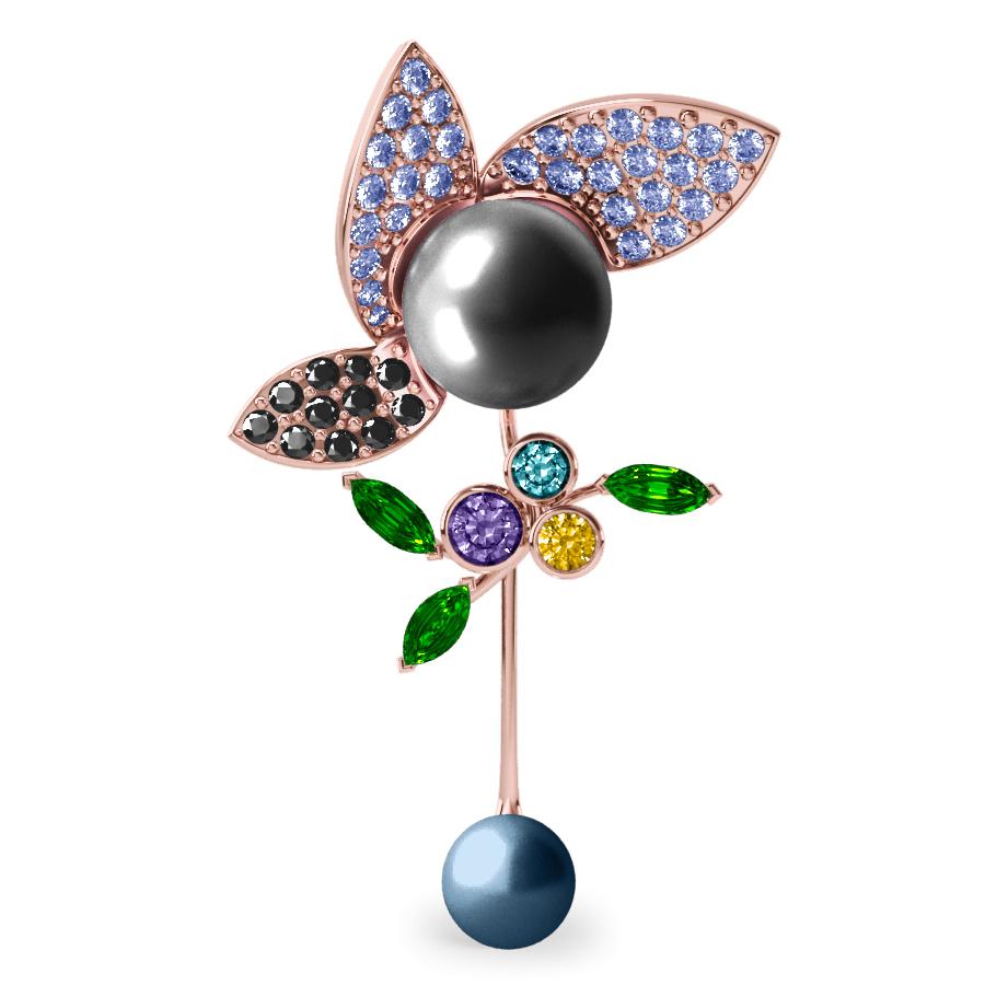 Pendentif  Pearly Angel Grise & Bleu - Saphirs, diamants, tsavorites & perles de Tahiti <br /> Or blanc 18 carats