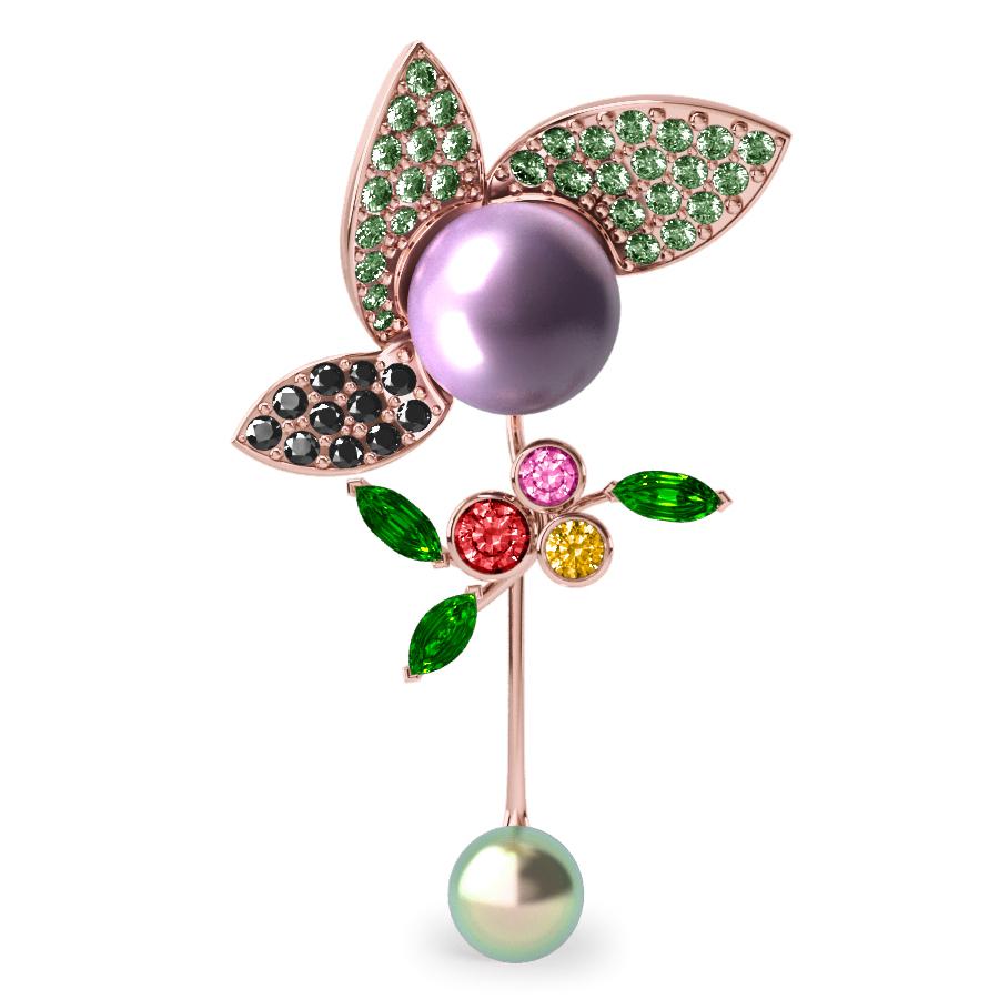 Pendentif  Pearly Angel Aubergine & Mauve - Saphirs, diamants, tsavorites & perles de Tahiti <br /> Or rose 18 carats