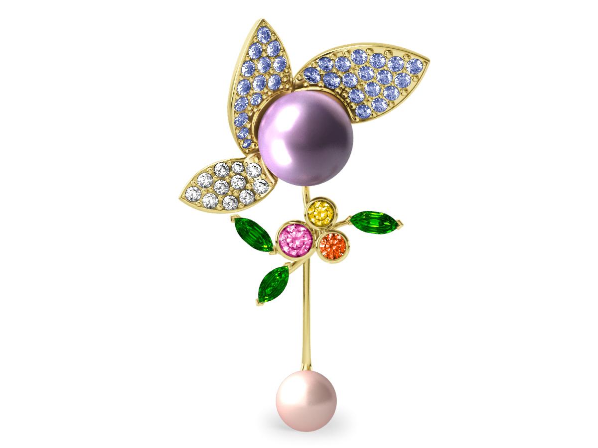 Pendentif  Pearly Angel Lavande & Ivoire - Saphirs, diamants, tsavorites & perles d'eau douce <br /> Or jaune 18 carats