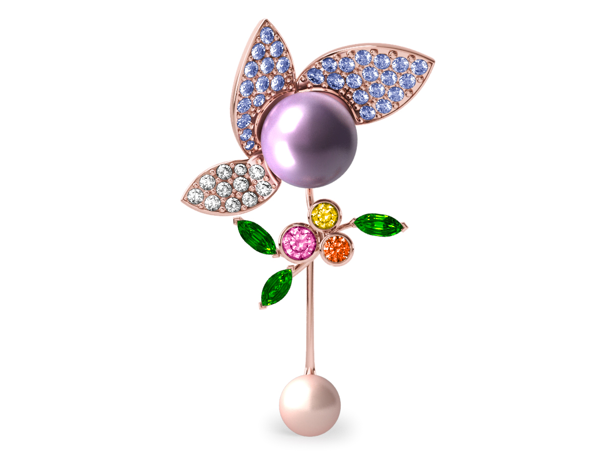Pendentif  Pearly Angel Lavande & Ivoire - Saphirs, diamants, tsavorites & perles d'eau douce <br /> Or rose 18 carats