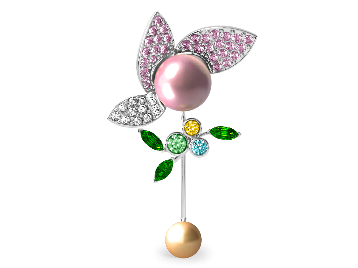 Pendentif  Pearly Angel Rose & Or - Saphirs, diamants, tsavorites & perle d'eau douce et des mers du Sud <br /> Or blanc 18 carats
