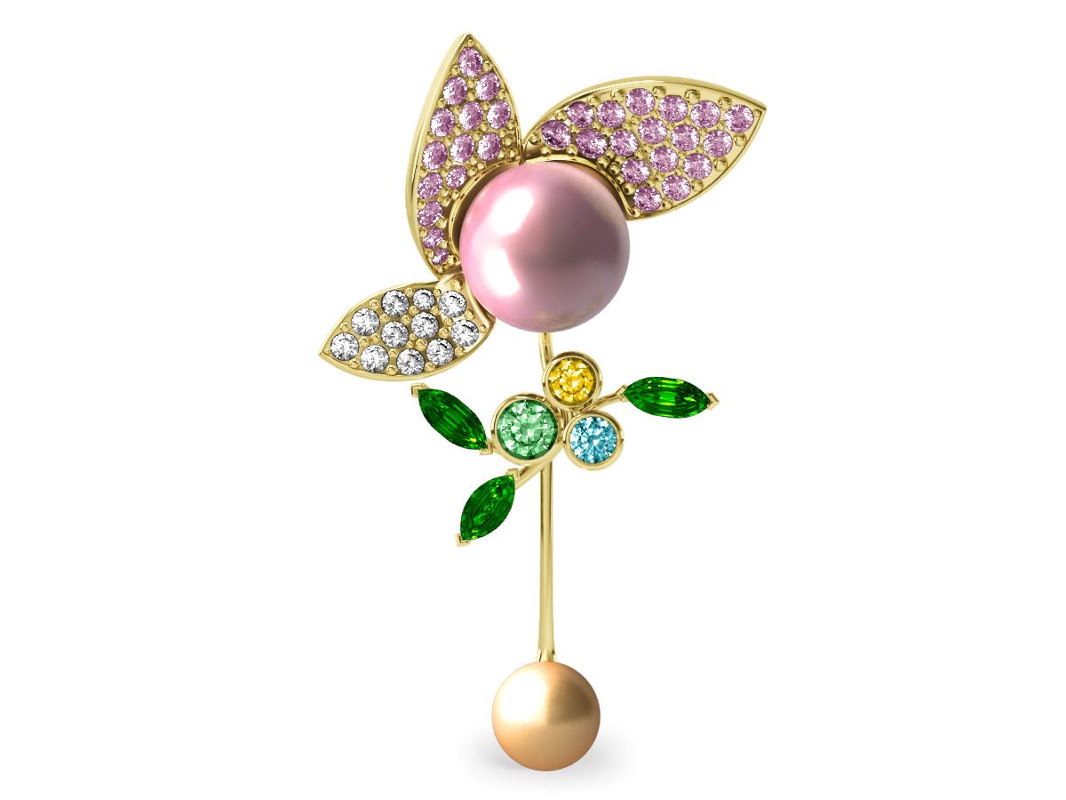 Pendentif  Pearly Angel Rose & Or - Saphirs, diamants, tsavorites & perle d'eau douce et des mers du Sud <br /> Or jaune 18 carats