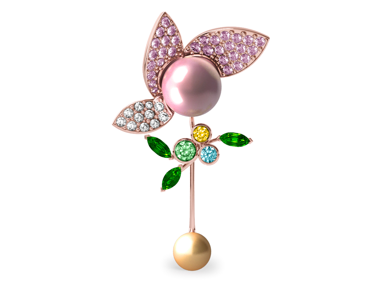 Pendentif  Pearly Angel Rose & Or - Saphirs, diamants, tsavorites & perle d'eau douce et des mers du Sud <br /> Or rose 18 carats