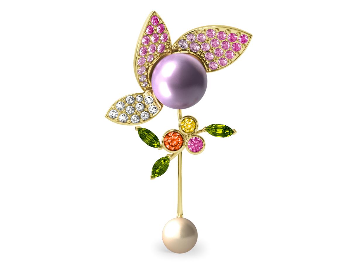 Pendentif  Pearly Angel Mauve & Ivoire - Saphirs, diamants, péridots & perles d'eau douce <br /> Or jaune 18 carats