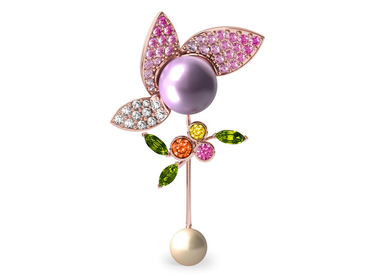 Pendentif  Pearly Angel Mauve & Ivoire - Saphirs, diamants, peridots & perles de Tahiti <br /> Or blanc 18 carats