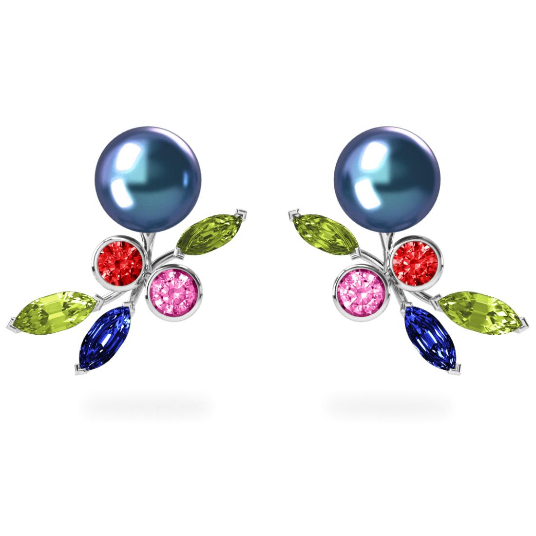 Boucles d'oreilles My Angel Peacock Céleste - Saphirs, diamants, peridots & perles de Tahiti <br /> Or blanc 18 carats
