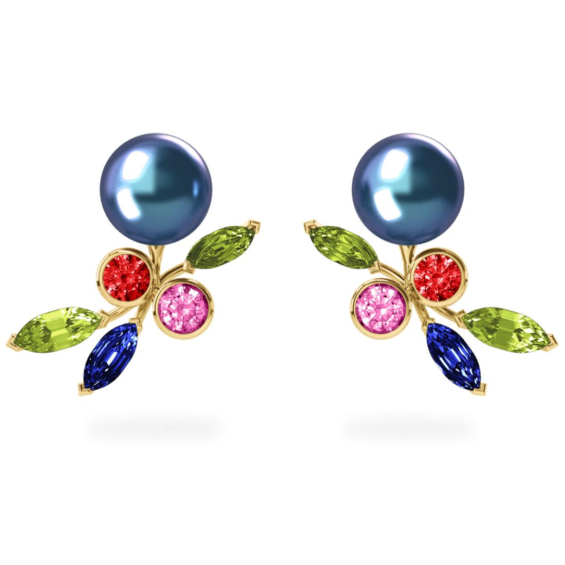 Boucles d'oreilles My Angel Peacock Céleste - Saphirs, diamants, peridots & perles de Tahiti <br /> Or jaune 18 carats