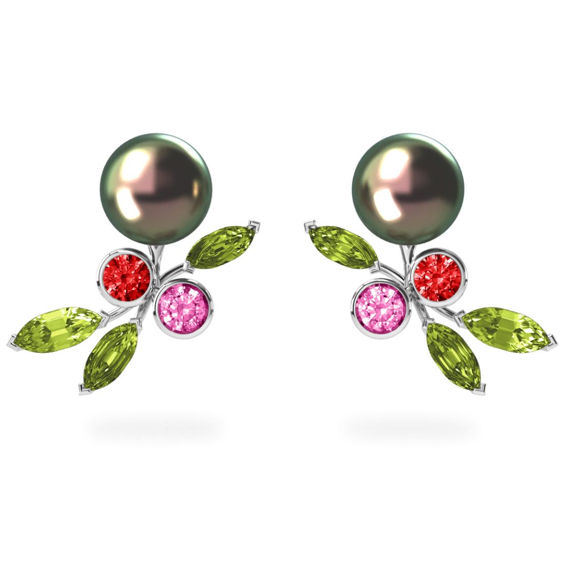Boucles d'oreilles My Angel Peacock  Pistache - Saphirs, diamants, peridots & perles de Tahiti <br /> Or blanc 18 carats