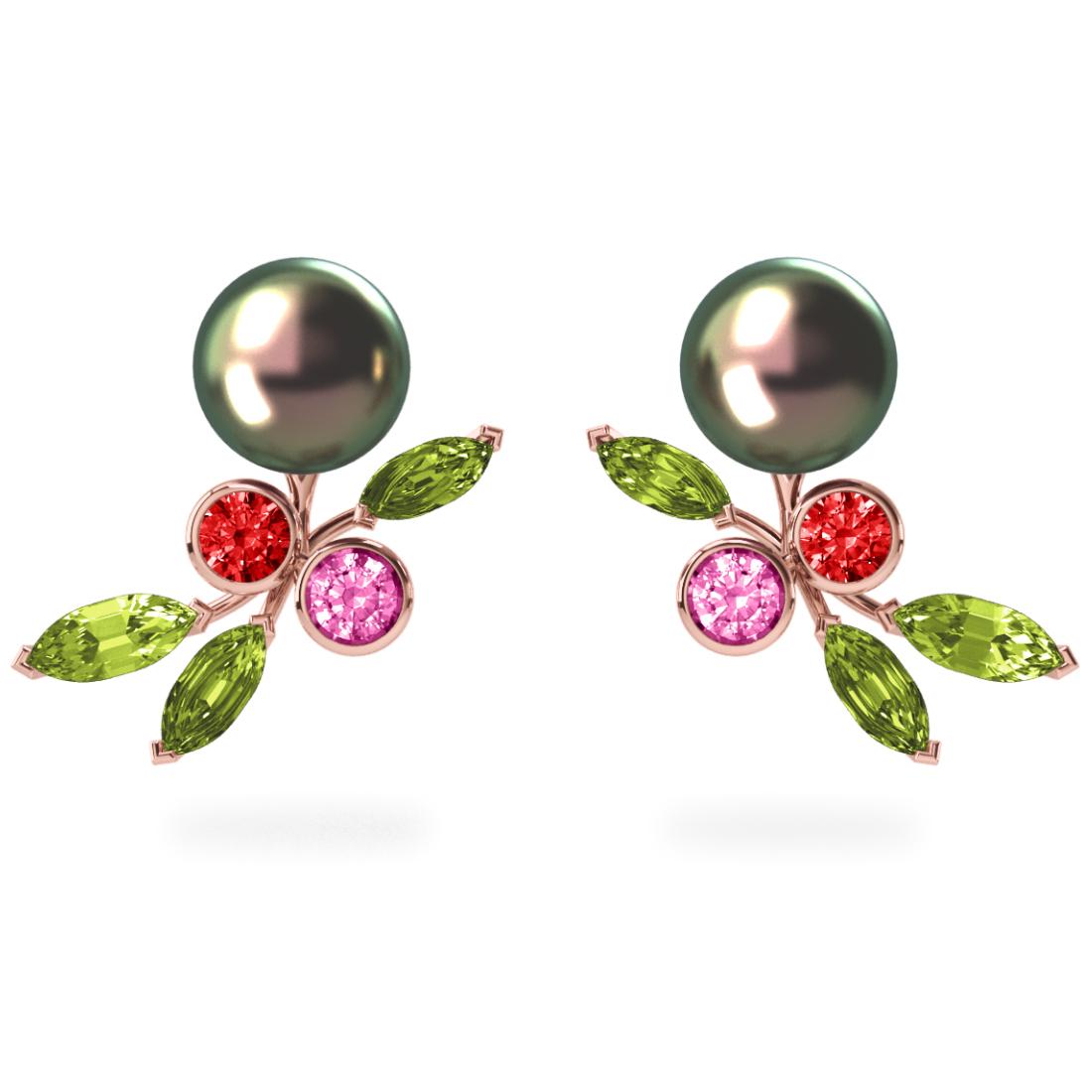 Boucles d'oreilles My Angel Peacock  Pistache - Saphirs, diamants, peridots & perles de Tahiti <br /> Or rose 18 carats