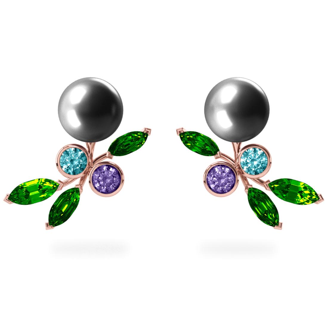 Boucles d'oreilles My Angel Grise - Saphirs, diamants, tsavorites & perles de Tahiti <br /> Or blanc 18 carats
